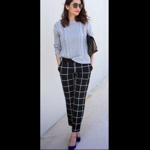 Elle Pull-On Skinny Fit Ankle Dress Pants Blk Grid